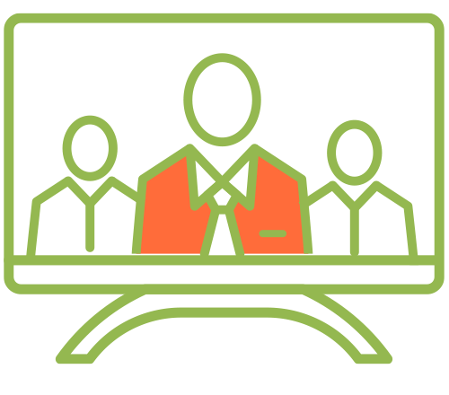 Icon of a television with people on the screen