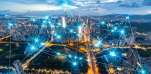 An image of a futuristic interconnected city